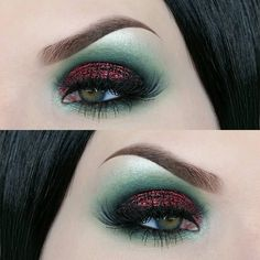 EYES: Brow bone highlight is @maccosmetics Nylon, green is a mix of Hatter from the @urbandecaycosmetics full spectrum palette and Scarab from @katvondbeauty Serpentina palette. Red glitter on the lid is @litcosmetics Heartbreaker. Liner is @katvondbeauty tattoo liner in Trooper  LASHES: @toofaced Better than sex mascara, lashes are @hudabeauty 'Farah'