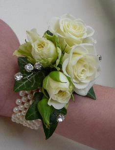 wrist corsages in ivory spray roses - Google Search