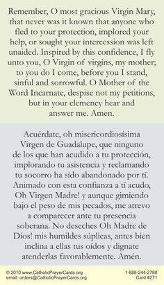 Free Catholic Holy Cards - Spanish Bilingual Catholic Prayer Cards - St Therese of Lisieux - St. Joseph - Our Lady of Guadalupe - Sacred Heart of Jesus - John Paul the Great - Support Missionary work Catholic Prayers In Spanish, Catholic Bible Verses, Catholic Mass, Prayers To Mary, Special Prayers, Memorare Prayer, Spanish Quotes With Translation, Miracle Prayer, Overcome The World