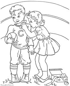Child Valentine coloring book pages