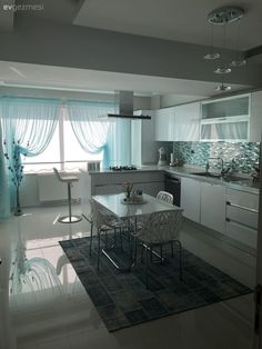 Kitchen, white kitchen, kitchen table, kitchen peninsula, suspended ceiling-Disne … Balkon – home accessories Decorating Your Home, Interior Decorating, Interior Design, Kitchen Peninsula, Corner Furniture, Cuisines Design, Kitchen Curtains, Storage Spaces, Home Accessories