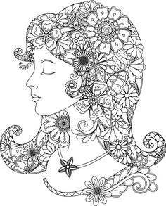 Lovely lady coloring page for you to color with Adult Coloring Pages app. It's a free iOS app https://itunes.apple.com/us/app/adult-coloring-pages-coloring/id1113849975?ls=1&mt=8