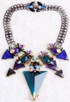 Maxi colar cristais geométrico com cristais