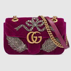 Mini borsa GG Marmont ricamata in velluto