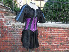 Ladies Black short sleeve chemise w/ trim medieval SCA viking Pirate garb LARP   eBay $25