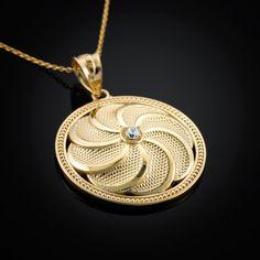 Gold Armenian Eternity Shield Diamond Pendant Necklace