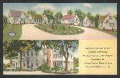 Larson's Cottage Court Tourist Cottages Gettysburg PA postcard 1930s