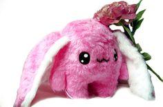 Big Fluse  Hase ,ein liebenswerter Kuschelfreund  aus hochwertigem Kuschel -Plüsch,Fell-Imitat in Pink-Weiss..Einzelstück!Unikat! Nach eigener Vorl...
