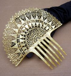 Pearlised Hair Comb Spanish Style with Islamic Influence Hair Accessory. 1920's The Spanish Comb on Ruby Lane