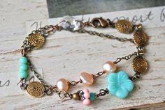 Elise. freshwater pearl, glass beaded,vintage chain, double strand,wrap bracelet. Tiedupmemories
