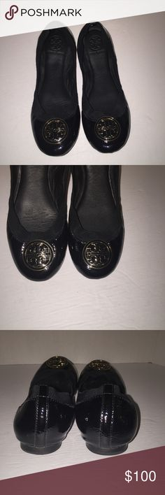 Tory Burch Black Patent Caroline Reva Flats sz 8 Black patent , worn before no box , size 8 ... Please don't forget to click share and the like button sorry no trades right now send me a offer Tory Burch Shoes Flats & Loafers