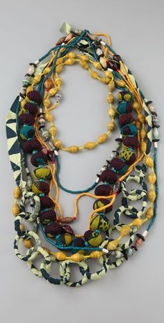 ZUBA Africa Yellow & Indigo Bead Necklace Set - Sharon Feiereisen