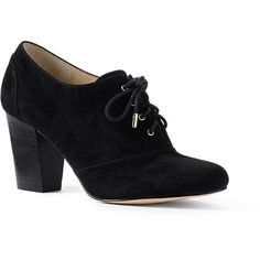 Lands' End Women's Heeled Oxfords (310 BRL) ❤ liked on Polyvore featuring shoes, oxfords, black, cap toe oxford shoes, black oxfords, cap-toe oxford, lands end shoes and lands' end