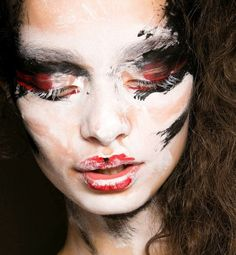 """Makeup created by Val Garland. Hair by Sam McKnight. Vivienne Westwood Red Label Spring - Summer 2014 . Concept - """"like an animal trapped in the headlights, trying to flee and trapped"""""""