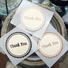 THANK YOU- Hand Stamped stickers in Neutral Colors