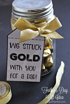 """I Dig Pinterest: """"We Struck Gold"""" Father's Day Gift Idea with Free Printable Tags"""