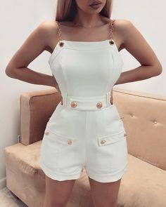 Sexy Bodycon Streetwear Back Zipper Playsuit Fashion Party Club Romper – TopFashionova Trend Fashion, Womens Fashion, Fashion Design, Latest Fashion, Fashion Online, High Fashion, Trendy Outfits, Cute Outfits, Mode Ootd