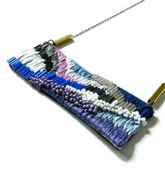 Hand embroidered Necklace / Purple Violet Blue Black & от jujujust