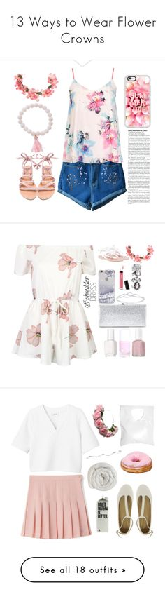 """""""13 Ways to Wear Flower Crowns"""" by polyvore-editorial ❤ liked on Polyvore featuring flowercrowns, waystowear, Dorothy Perkins, 3AM Imports, Ancient Greek Sandals, Miss Selfridge, Casetify, WithChic, Essie and Jimmy Choo"""