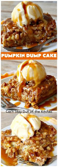 Pumpkin Dump Cake - Can't Stay Out of the Kitchen Delicious pumpkin cobbler with pumpkin souffle on the bottom, topped with cake mix, pecans & Heath English Toffee Bits. This amazing dessert is perfect served with ice cream and caramel sauce. Apple Dump Cakes, Dump Cake Recipes, Frosting Recipes, Pumpkin Pie Mix, Pumpkin Dessert, Pumpkin Souffle, Pumpkin Pumpkin, Cake Bars, Fun Desserts
