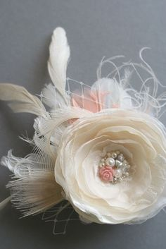 Wedding Bridal Hair Flower, Champagne Flower Fascinator Hairpiece Vintage Inspired Bridal Clip by BelleBlooms on Etsy
