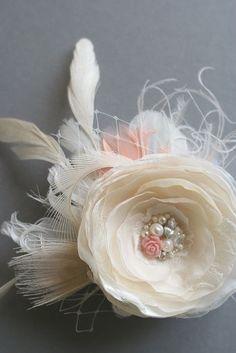 Wedding Bridal Hair Flower, Champagne Flower Fascinator Hairpiece Vintage Inspired Bridal Clip by BelleBlooms on Etsy