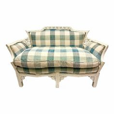 Antique Carved Settee in Check Upholstery For Sale Tufted Couch, Loveseat Sofa, Sectional Sofa, Paint Upholstery, Unique Sofas, Another A, Sofa Shop, Couch Covers, Modern Sofa