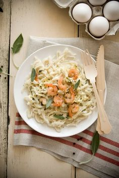 homemade pastas with grilled shrimps, lemon and sage sauce  http://www.christelleisflabbergasting.com/