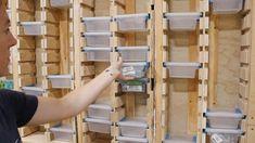 Power Tool Storage, Garage Tool Storage, Workshop Storage, Garage Tools, Shed Storage, Lumber Storage, Power Tools, Diy Storage Building, Plywood Storage