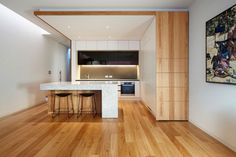 Wooden paneling up side. Perhaps I could do this up the side of the fridge space?