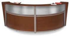 "124.25""w Reception Desk with Arc Design, Thermo-Fused Melamine, Wood Finish – Cherry"