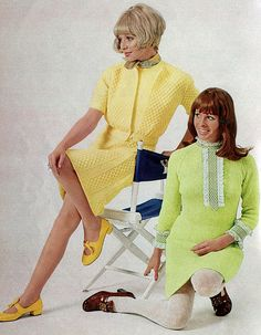 Lorraine & Marilyn is a pair of vintage 1969 womens sweater dress patterns from Spinnerin booklet ★ Yellow cable knit sweater dress sizes (shown left): 60s And 70s Fashion, Retro Fashion, Vintage Fashion, Fashion Styles, Vintage Dresses, Vintage Outfits, Vintage Lace, Vintage Clothing, Vintage Style