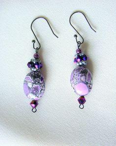 Lilac Drop Earrings/ Purple and Lilac Crystal Dangle Earrings/ Purple Gemstone with Dark Purple Crystals Dangle Earrings #biztalk #jewelry