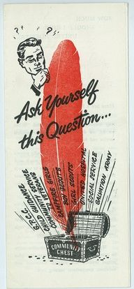 """1951 Poster - """"Ask Yourself the Question""""; a local charitable giving campaign helps to focus giving at a time when there are roughly foundations and tax-exempt charitable organizations in the U. Charitable Giving, United Way, Brochure Cover, Social Services, The Unit, History, 50th Anniversary, Poster, Origins"""
