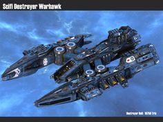 Scifi Destroyer Warhawk by msgamedevelopment on DeviantArt