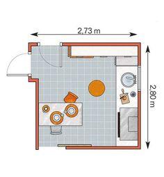 Cocina en forma de L: 57,6 m² - Plano