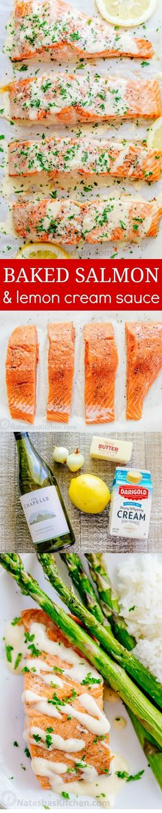 Oven Baked Salmon with flavorful and simple lemon cream sauce. Lemon beurre blanc, will be your secret weapon for seafood recipes. Gourmet flavors at home! | http://natashaskitchen.com (Baking Salmon Parmesan)