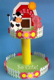 Aprende cómo hacer un stand para dulces reciclando cartón y foami ~ Mimundomanual Farm Birthday, Animal Birthday, 1st Birthday Parties, Barnyard Party, Farm Party, Baby Animal Nursery, Crafts For Kids, Arts And Crafts, Farm Theme
