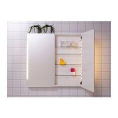 "STORJORM Mirror cabinet w/2 doors & light - IKEAProduct dimensions Width: 39 3/8 "" Depth: 5 1/2 "" Height: 37 3/4 ""   Width: 100 cm Depth: 14 cm Height: 96 cm"