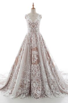 A-Line+Chapel+Train+Tulle+Lace+and+Elastic+Satin+Wedding+Dress+LD5190