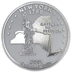 Our New York State Quarter Magnets feature the unique State Quarter designs that have recently been released by the U.S. Mint on 5 square inch Classic molded magnets. The New York Classic State Quarte