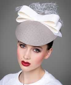 Fashion hat Grey and White Visor, a design by Melbourne milliner Louise Macdonald