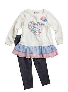 GUESS Baby Girl Dasha Ruffle Knit Top & Jeggings Set (2T-4T) | GuessFactory.com