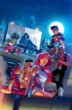The Comic Ninja - Titans by Stephen Byrne Teen Titans Raven, Teen Titans Go, Teen Titans Fanart, Teen Titans Cyborg, Batman Vs, Spiderman, Comic Book Characters, Comic Books Art, Comic Art