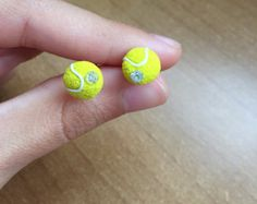Polymer clay tennis balls earrings by BottegaDiFede on Etsy