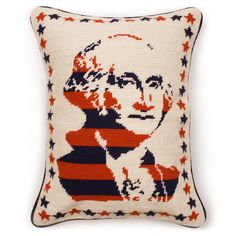 George Washington Pillow 145.00- Needlepoint homage to our founding father.  No longer granny's occupational therapy, we believe needlepoint is as hip as being first.