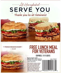 Happy Veterans Day from HoneyBaked Ham Douglasville  ! #coupon #VeteransDay Ham Store, Honey Baked Ham, Lunch Recipes, Coupons, Side Dishes, Sandwiches, Turkey, Chips, Beef
