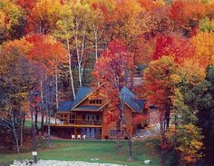 Look at the autumn colors at the rustic cabin!
