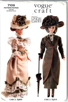 Vogue 7109 Linda Carr Fashion Doll Clothes Pattern Historical Outfits for Barbie Sewing Pattern