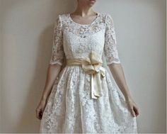 Ellie--2 Piece, Lace and Cotton Wedding Dress. $695.00, via Etsy.
